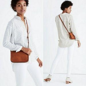 MADEWELL White Shrunken Trapeze Penpoint Dot Shirt